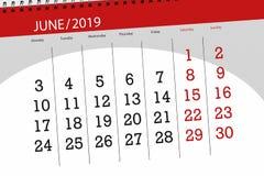 Kalenderstadsplanerare f?r m?naden juni 2019, stopptiddag royaltyfri illustrationer