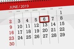 Kalenderstadsplanerare f?r m?naden juni 2019, stopptiddag, 6, torsdag vektor illustrationer
