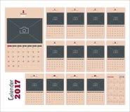 2017 kalenderstadsplaneraresidor Stock Illustrationer