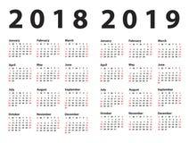 Kalenderstart 2018 från söndag royaltyfri illustrationer