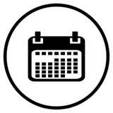 Kalendersymbol i cirkel royaltyfri illustrationer