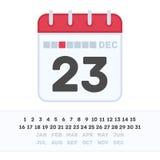 Kalendersymbol med datumet Royaltyfri Bild