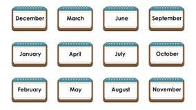 Kalendersymbol med namnet av månader royaltyfri illustrationer