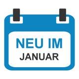 Kalendersymbol: Nytt i Januari tysk royaltyfri illustrationer