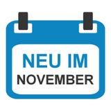 Kalendersymbol: Nytt i November tysk royaltyfri illustrationer
