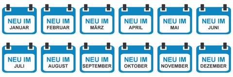 Kalendersymboler: Nytt i Januari - December i tyskt språk vektor illustrationer