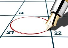 Kalendertag eingekreist mit roter Feder Lizenzfreies Stockbild