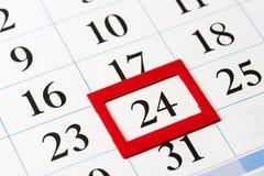 Kalendertag hervorgehoben im Rot Lizenzfreies Stockbild