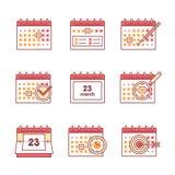 Kalenderuppsättning Tunn linje konstsymboler stock illustrationer