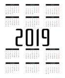 Kalendervektor 2019 vektor illustrationer