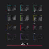 Kalendervektor 2014 Arkivbild