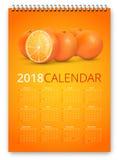 Kalendervektor 2018 stock illustrationer