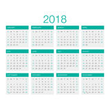 Kalendervektor 2018 Fotografering för Bildbyråer