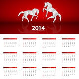 Kalendervektorillustration des neuen Jahres 2014 Lizenzfreies Stockfoto