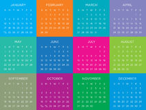 Kalendervektormall 2016 Arkivfoton