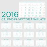 Kalendervektormall 2016 Royaltyfria Bilder