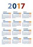 Kalendervektormall 2017 Arkivfoton