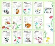Kalendervektormall 2019 med gulliga djur stock illustrationer