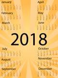 Kalenderzeichen der Schablonen-2018 Bunte Ikonen der komischen Art der Pop-Art raster stock abbildung