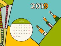 Kalenderzusammenfassungs-zeitgen?ssischen Kunst der April-2019 Vektor Schreibtisch, Schirm, Tischplattenmonat 04,2019, bunte Scha vektor abbildung