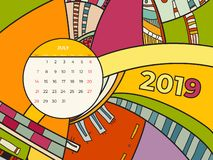 Kalenderzusammenfassungs-zeitgen?ssischen Kunst der Juli-2019 Vektor Schreibtisch, Schirm, Tischplattenmonat 07,2019, bunte Schab lizenzfreie abbildung