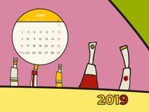 Kalenderzusammenfassungs-zeitgen?ssischen Kunst der Juni-2019 Vektor Schreibtisch, Schirm, Tischplattenmonat 06,2019, bunte Schab stock abbildung