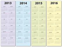 Kalendrar 2013 -2016 Stock Illustrationer