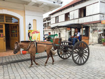 Kalesa (or Horse Carriage) in Historic Town of Vigan. Stock Images