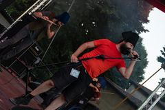 Kalevala hms @ Malpaga Folk and Metal Fest BG 29-07-2018. Bergamo, Italy - July 29, 2018: The Italian Folk Rockers band KALEVALA HMS performs at 6th Folk and Stock Photo