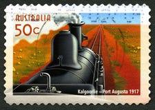 Kalgoorlie som Port Augusta Train Australian Postage Stamp Royaltyfri Fotografi