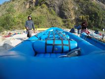 Kali Camping time click this pic. Boys are ready to go down the river for long day of the day stock image