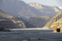 Kali-Gandaki gorge,Mustang. The Kali-Gandaki gorge from Kagbeni to Tangbe in Mustang,Nepal Stock Photography