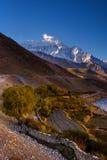 Kali Gangaki rzeczna dolinna pobliska wioska Kagbeni Zdjęcie Royalty Free
