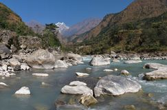 Kali Ghandaki River and Nilgiri Stock Photos