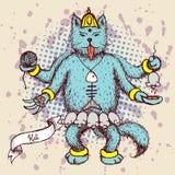 Kali indian god in cat cartoon Stock Photography