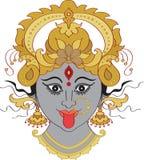 Kali Maa (Kalika) Indian Goddess. Ornamental face stock illustration