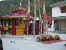 Kali Temple at KaliMath India. Kalimath village is regarded as a divine place and shakti peeth on the river Saraswati in the Himalayas, Rudraprayag District Royalty Free Stock Photo