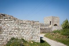 在Kaliakra海角的堡垒墙壁在保加利亚 库存照片