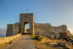 Kaliakra Archaeological Reserve. Cape Kaliakra and the architectural reserve on its territory are located 12 km southeast of Kavarna. It is an oblong, narrowing royalty free stock photos