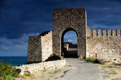 Kaliakra fortress. Old citadel gate guarding the entrance of Kaliakra in Bulgaria Stock Images