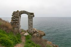 Kaliakra fortress bulgaria old arch gate through virgins throw themselves in the sea legend. Story Royalty Free Stock Image