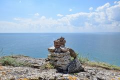 Kaliakra Sea Rocks Stones Bulgaria Vacation Stock Photo. Cape Kaliakra Sea Rocks Folded Stones Bulgaria Stock Photo royalty free stock image