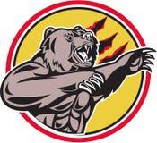 Kalifornia grizzly niedźwiedź Swiping łapa okrąg Retro ilustracji