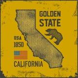 Kalifornia koszulka z grizzly niedźwiedziem ilustracja wektor