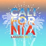 Kalifornia, laguna beach Wektorowa ilustracja z palmami, rocznika projekt ilustracji