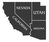 Kalifornia, Nevada, Utah, Arizona mapa przylepiający etykietkę czerń - - Obraz Stock