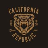 Kalifornia republiki koszulki projekt z grizzly niedźwiedzia głową Wektorowa rocznik ilustracja ilustracja wektor