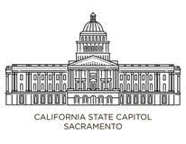 Kalifornia stanu Capitol jest domowy rząd Kalifornia, Stany Zjednoczone Ameryka royalty ilustracja