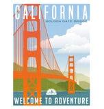 Kalifornia, Stany Zjednoczone podróży plakat lub majcher, Obrazy Stock