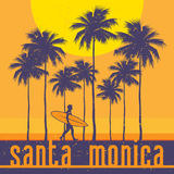Kalifornia sunie, Snata Monica plaża, surfingowa plakat royalty ilustracja